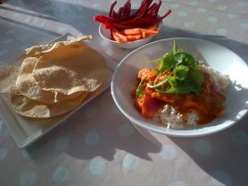 Butter Chicken and poppadums