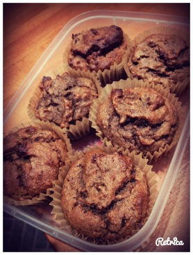 Makes 8 lovely moist muffins - great for school lunches, but use nut free options if necessary